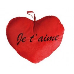 Coussin coeur rouge je t'aime