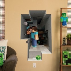 Minecraft sticker wall cling digging Steve