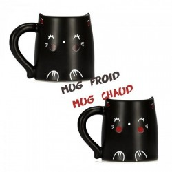 Mug thermoréactif chat noir
