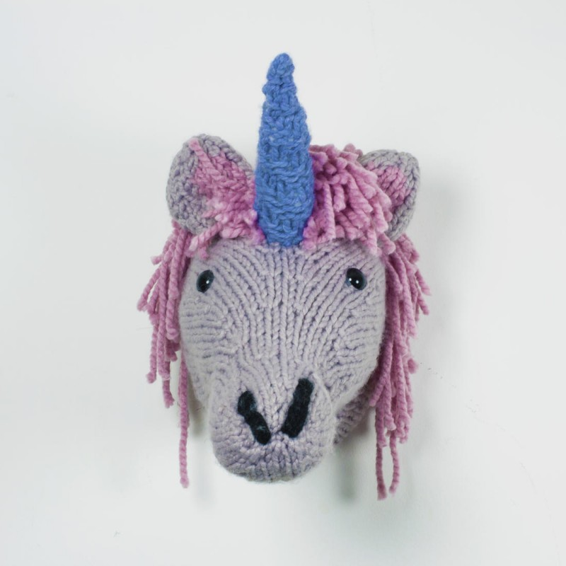 T te de licorne murale tricot vendu geek for Decoration murale licorne