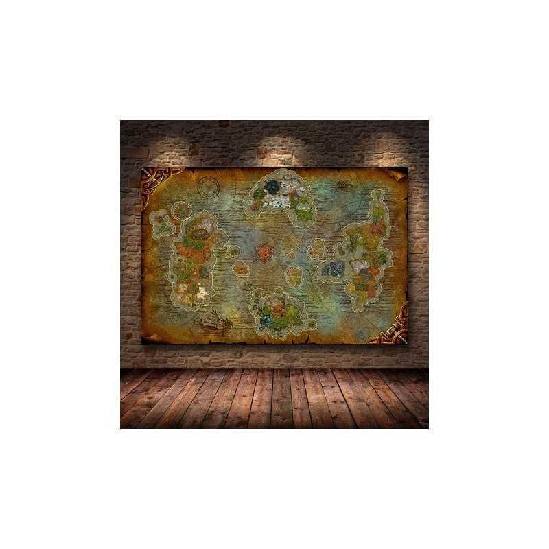 Poster Carte World Of Warcraft Peinture sur Toile