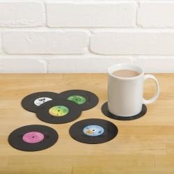 6 Dessous de verre disque vinyle