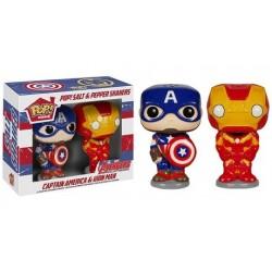 Set salière et poivrière Pop Iron man et Captain america