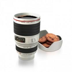 Mug blanc objectif appareil photo