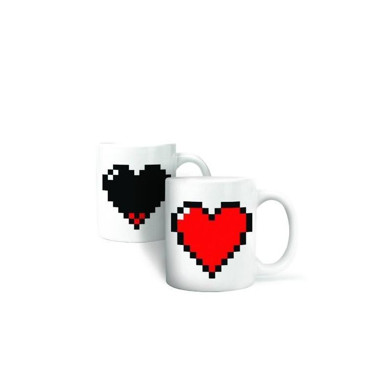 Mug thermique coeur pixels
