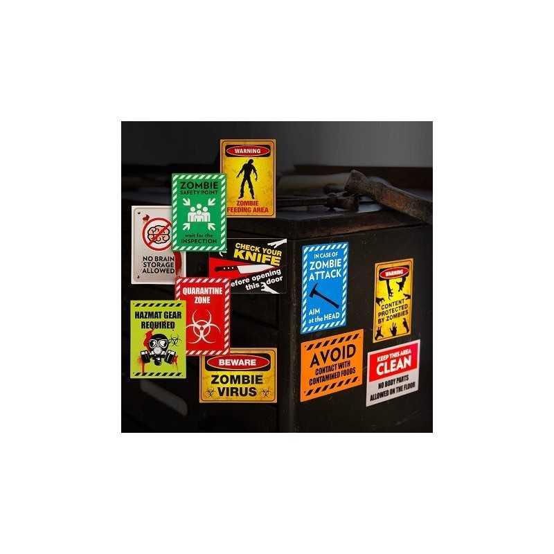 Lot de Stickers Zombie Warning