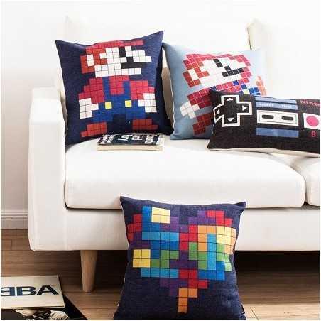 Plaid de coussin pixels Nintendo