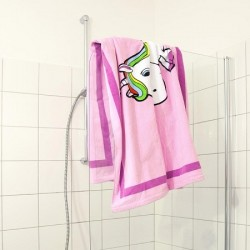 Serviette rose Licorne