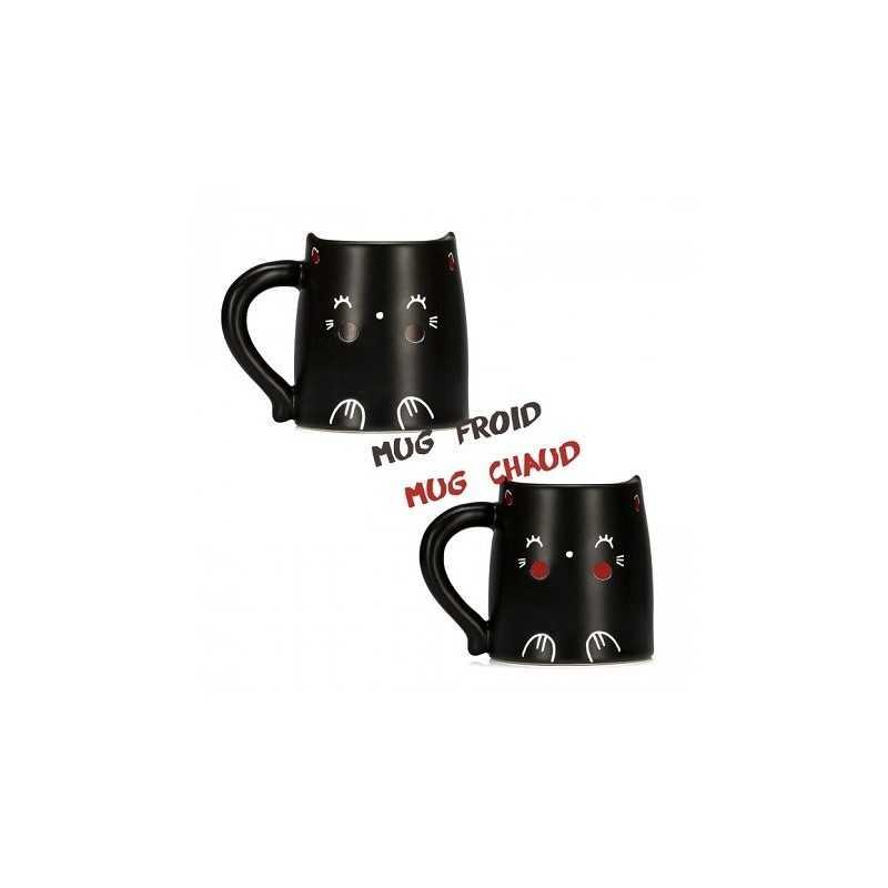 Mug thermoréactif chat noir