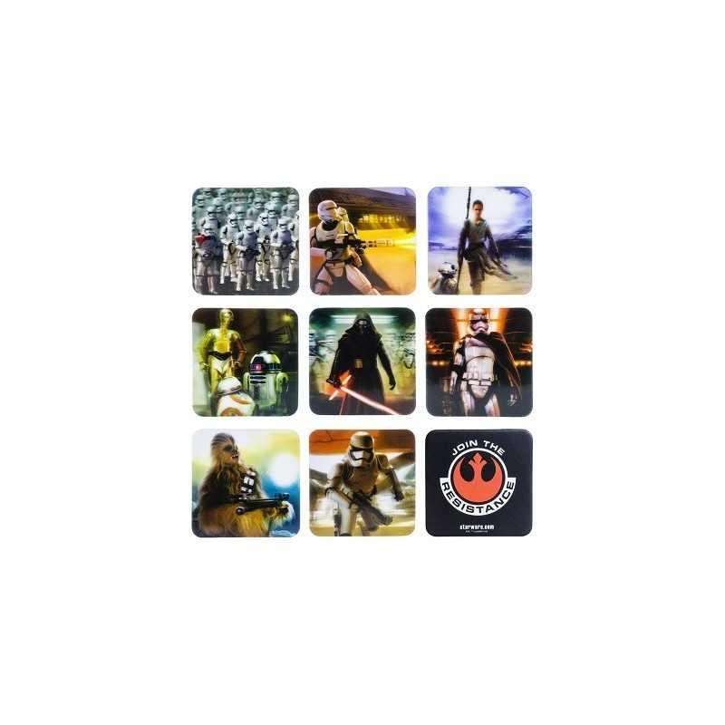 Pack 9 sous-verres effet relief Star Wars VII