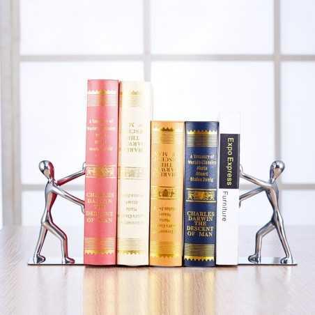 Serre-livres bonhomme chrome