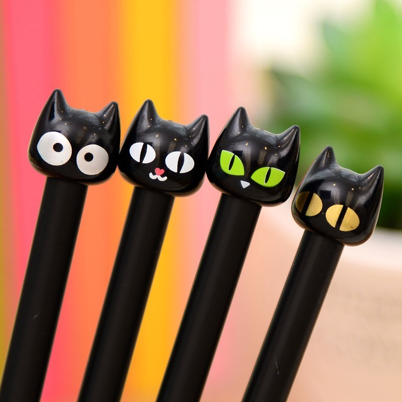 Lot 4 Stylos Chats Noirs