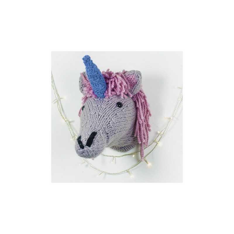 Tête de Licorne murale tricot