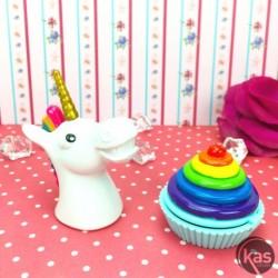 Lot Baume à lèvres Licorne et cupcake