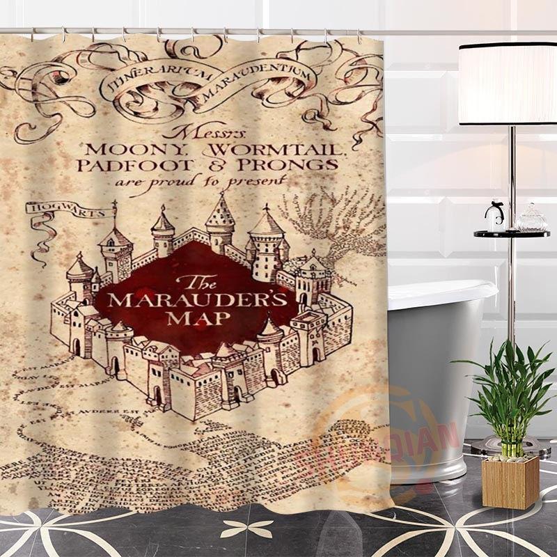 Punk family Rideau de Douche personnalis/é Harry Potter Gryffondor Traces Rideau de Douche en Tissu Durable Accessoires cr/éatifs avec 12 Crochets 180 x 180 cm