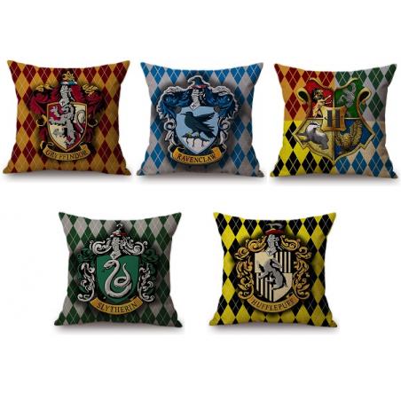 Taie d'oreiller coussin Harry Potter Gryffondor, Serpentard, Poufsouffle, Sardaigle